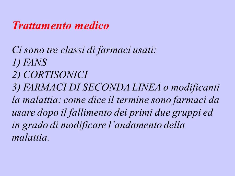 Trattamento medico Ci sono tre classi di farmaci usati: 1) FANS
