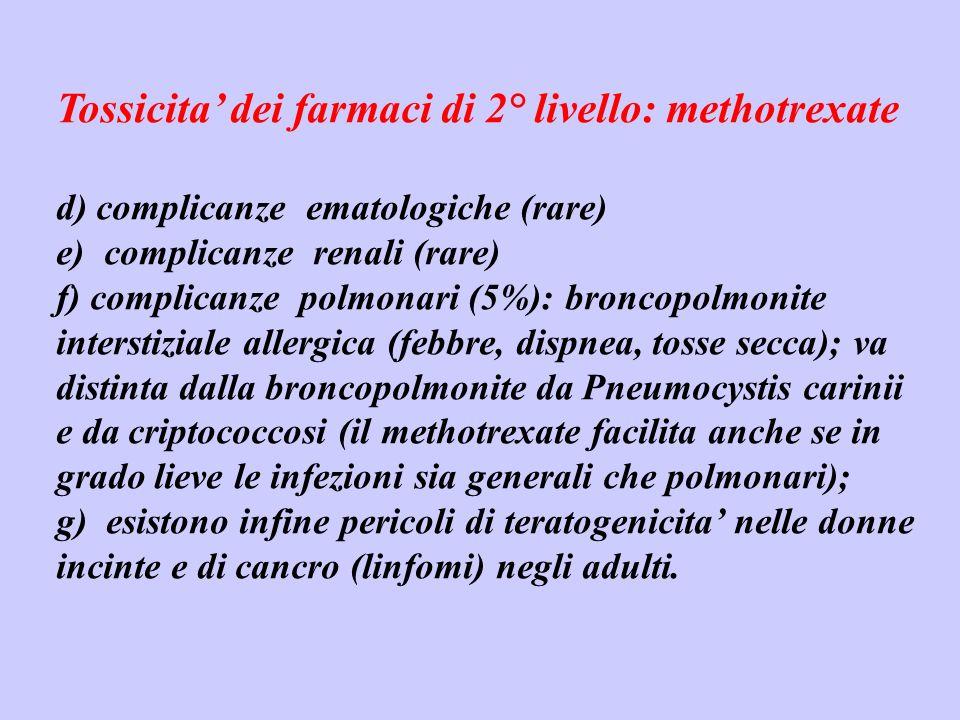 Tossicita' dei farmaci di 2° livello: methotrexate