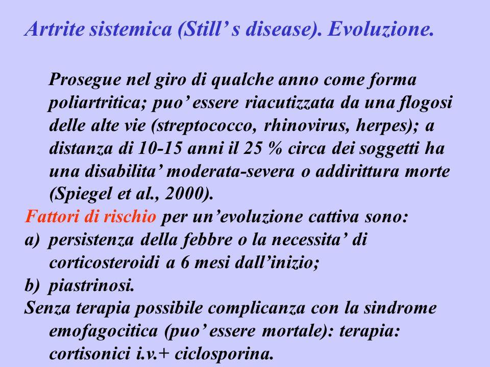 Artrite sistemica (Still' s disease). Evoluzione.