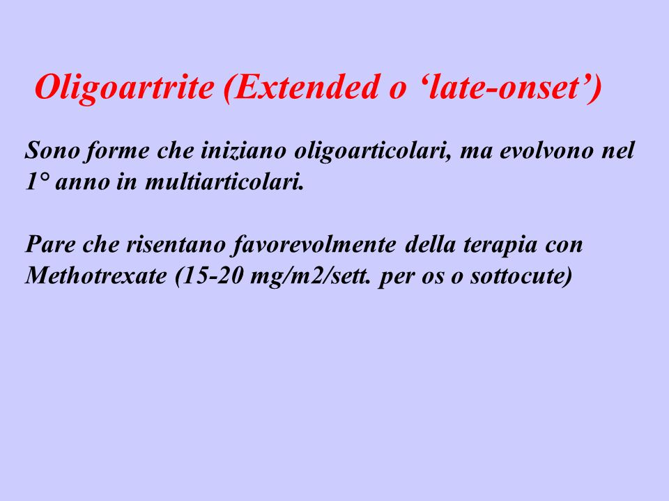 Oligoartrite (Extended o 'late-onset')