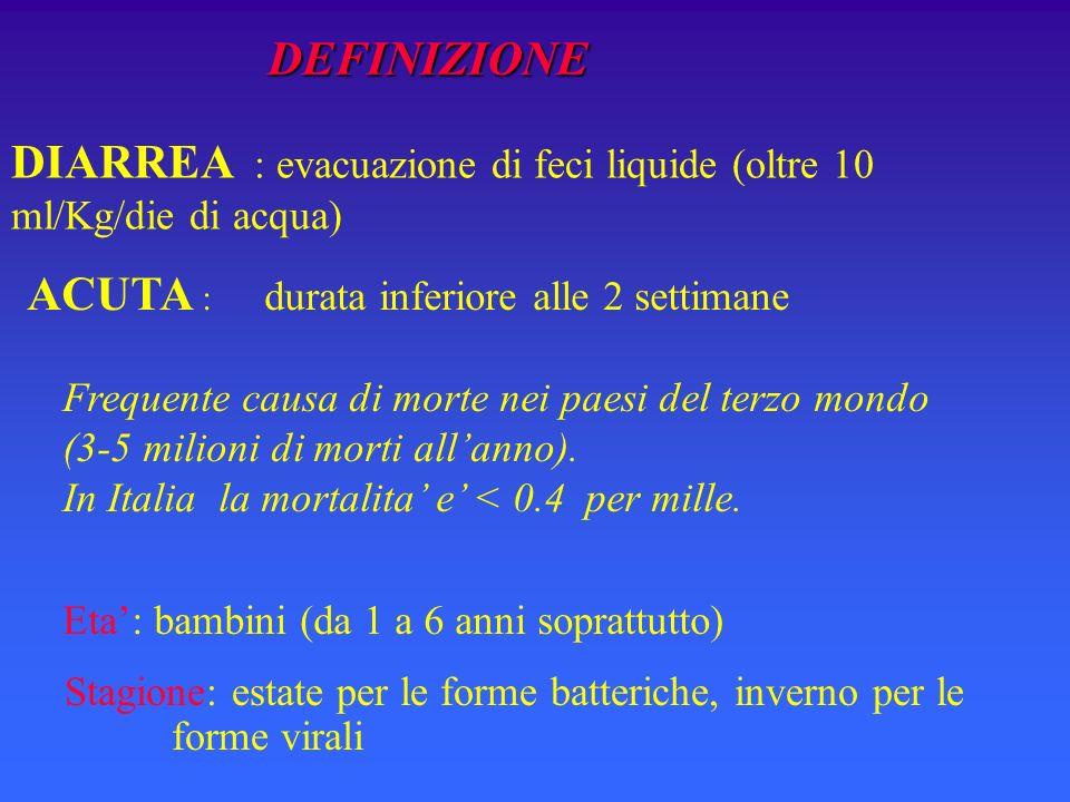 DIARREA : evacuazione di feci liquide (oltre 10 ml/Kg/die di acqua)