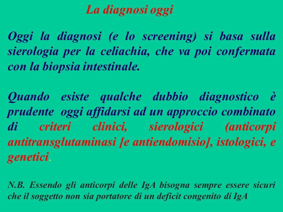 La diagnosi oggi Oggi la diagnosi (e lo screening) si basa sulla sierologia per la celiachia, che va poi confermata con la biopsia intestinale.