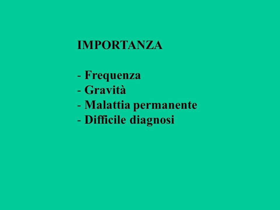 IMPORTANZA Frequenza Gravità Malattia permanente Difficile diagnosi