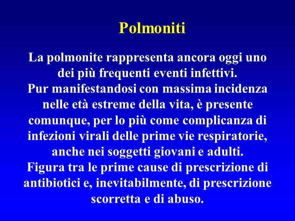 Polmoniti La polmonite rappresenta ancora oggi uno dei più frequenti eventi infettivi.