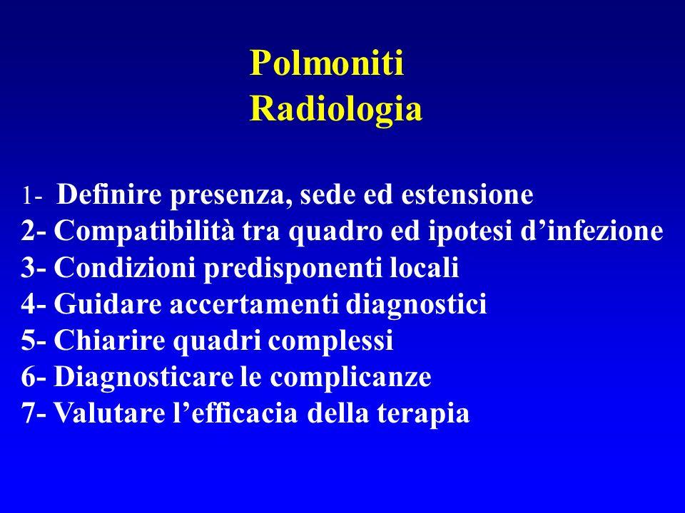 PolmonitiRadiologia. 1- Definire presenza, sede ed estensione. 2- Compatibilità tra quadro ed ipotesi d'infezione.