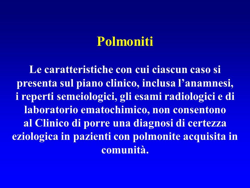Polmoniti Le caratteristiche con cui ciascun caso si presenta sul piano clinico, inclusa l'anamnesi,