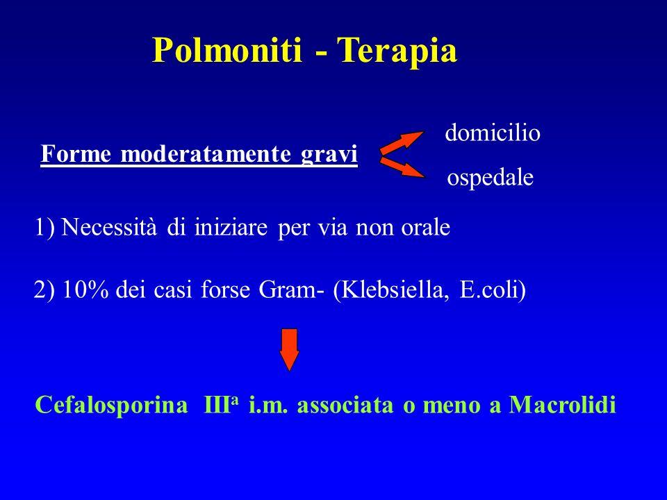 Polmoniti - Terapia domicilio Forme moderatamente gravi ospedale