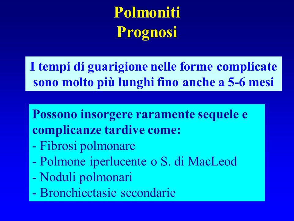PolmonitiPrognosi. I tempi di guarigione nelle forme complicate sono molto più lunghi fino anche a 5-6 mesi.