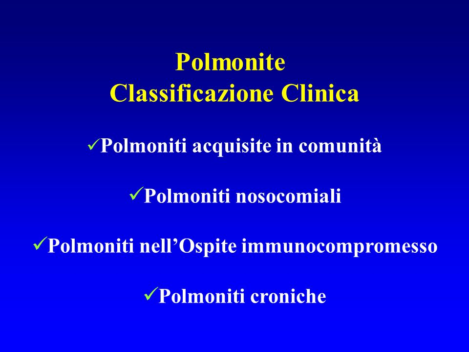 Polmonite Classificazione Clinica