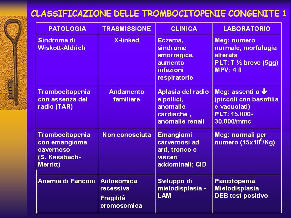 CLASSIFICAZIONE DELLE TROMBOCITOPENIE CONGENITE 1