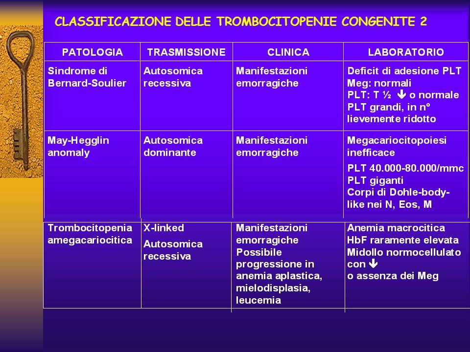 CLASSIFICAZIONE DELLE TROMBOCITOPENIE CONGENITE 2