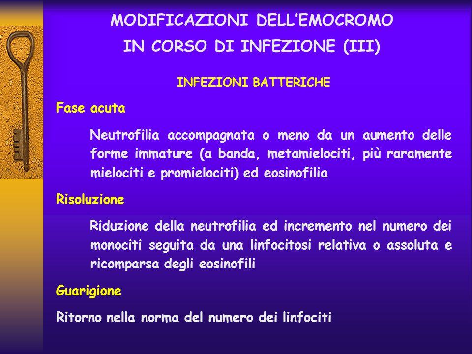 MODIFICAZIONI DELL'EMOCROMO IN CORSO DI INFEZIONE (III)