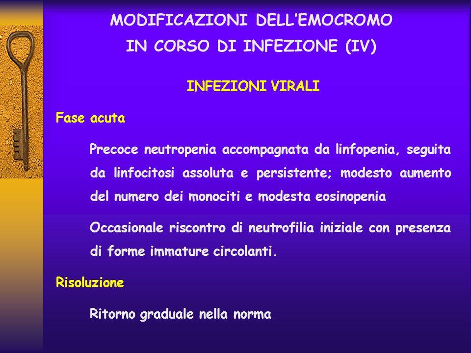 MODIFICAZIONI DELL'EMOCROMO IN CORSO DI INFEZIONE (IV)