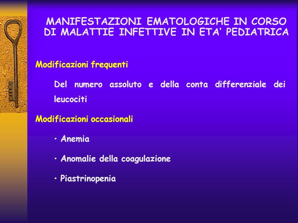MANIFESTAZIONI EMATOLOGICHE IN CORSO DI MALATTIE INFETTIVE IN ETA' PEDIATRICA
