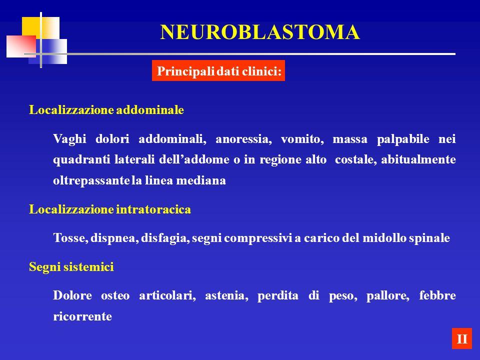 NEUROBLASTOMA Principali dati clinici: Localizzazione addominale