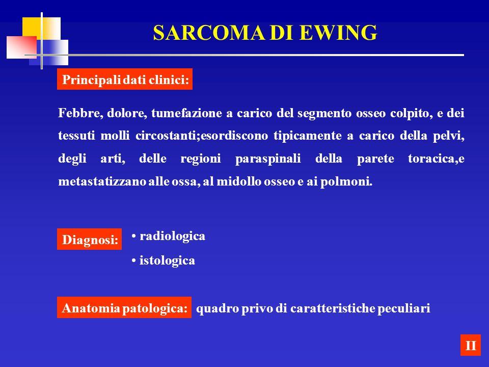 SARCOMA DI EWING Principali dati clinici: