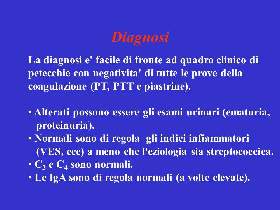 Diagnosi La diagnosi e facile di fronte ad quadro clinico di