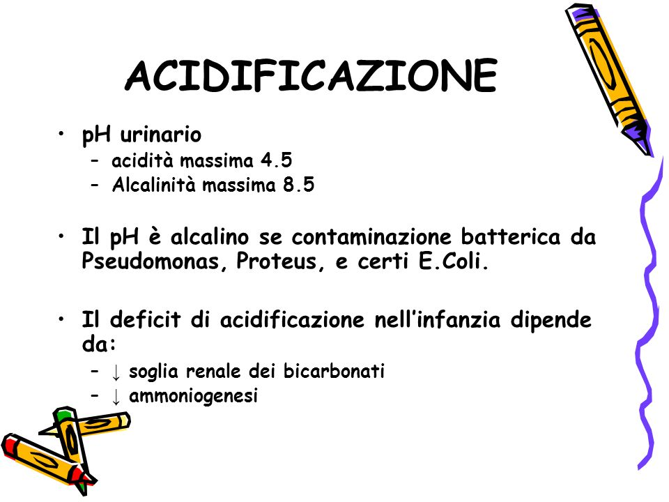 ACIDIFICAZIONE pH urinario
