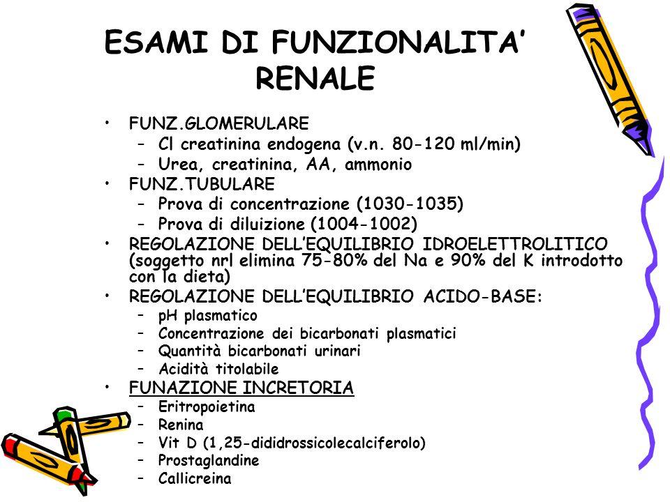 ESAMI DI FUNZIONALITA' RENALE