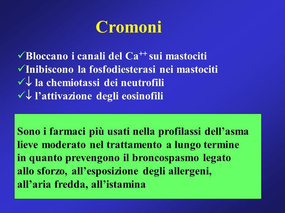 Cromoni Bloccano i canali del Ca++ sui mastociti