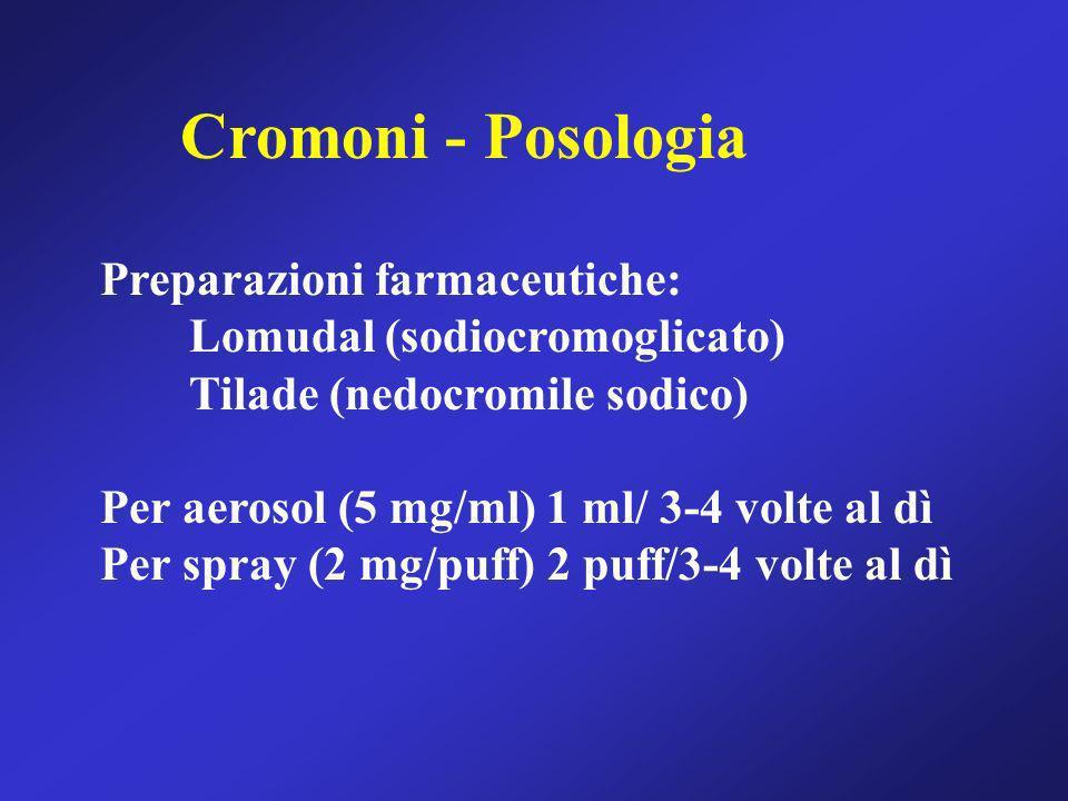 Cromoni - Posologia Preparazioni farmaceutiche: