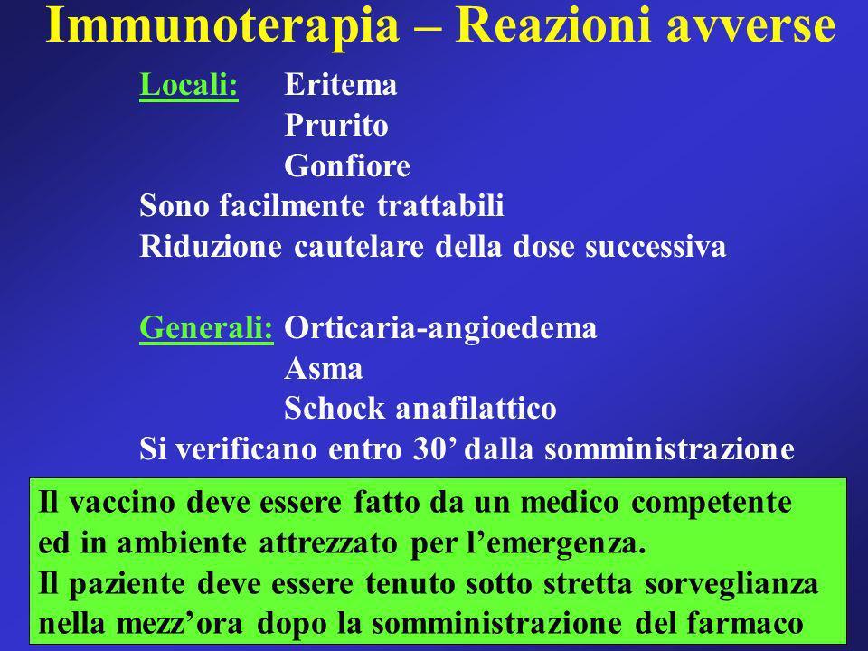 Immunoterapia – Reazioni avverse