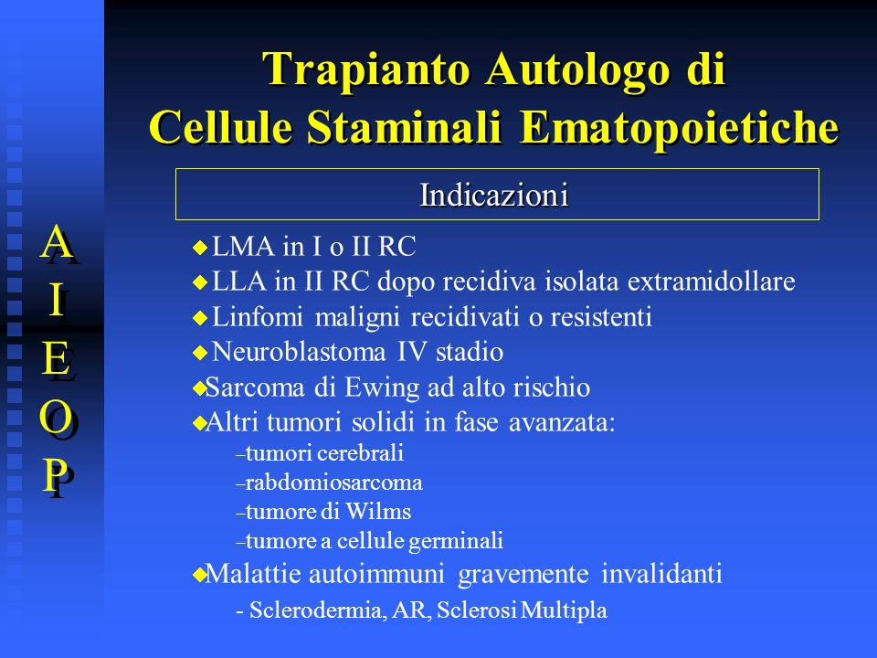 Trapianto Autologo di Cellule Staminali Ematopoietiche