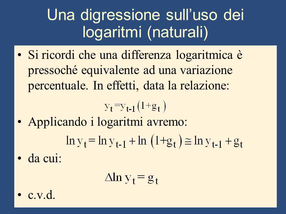 Una digressione sull'uso dei logaritmi (naturali)