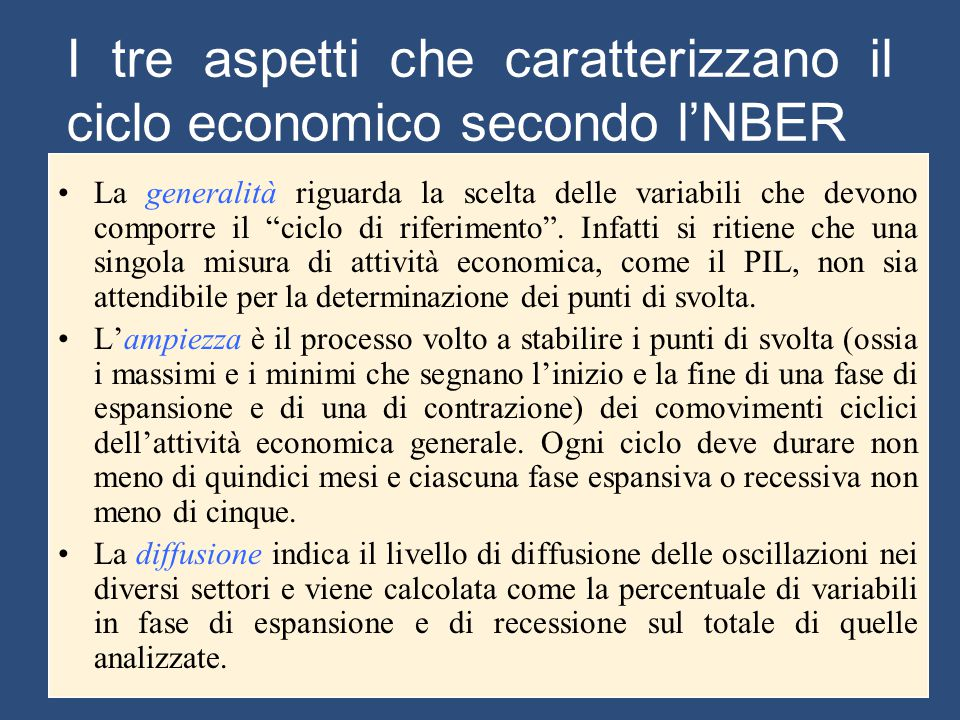 I tre aspetti che caratterizzano il ciclo economico secondo l'NBER