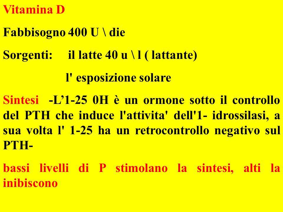 Vitamina D Fabbisogno 400 U \ die. Sorgenti: il latte 40 u \ l ( lattante) l esposizione solare.