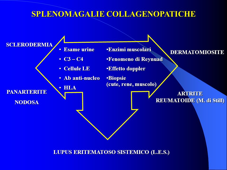 SPLENOMAGALIE COLLAGENOPATICHE REUMATOIDE (M. di Still)