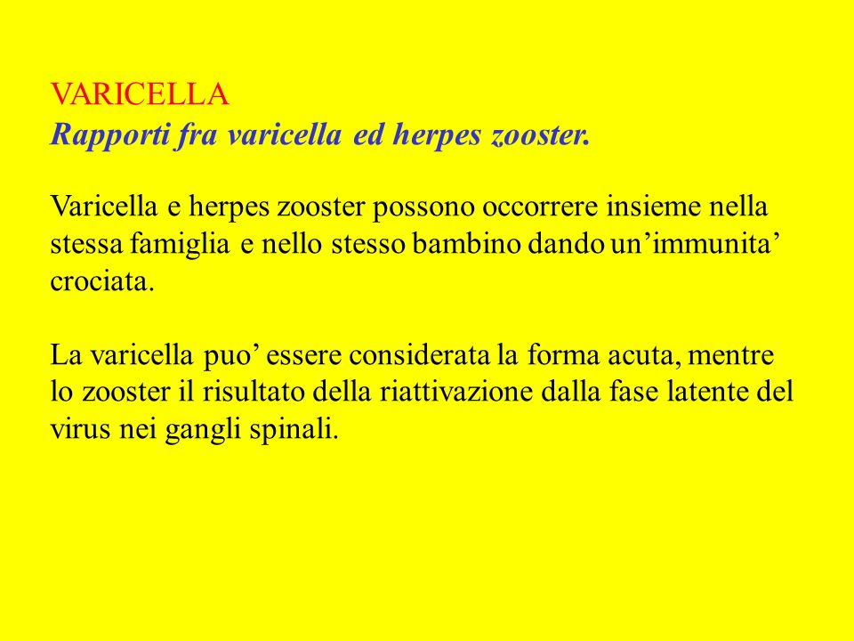 Rapporti fra varicella ed herpes zooster.