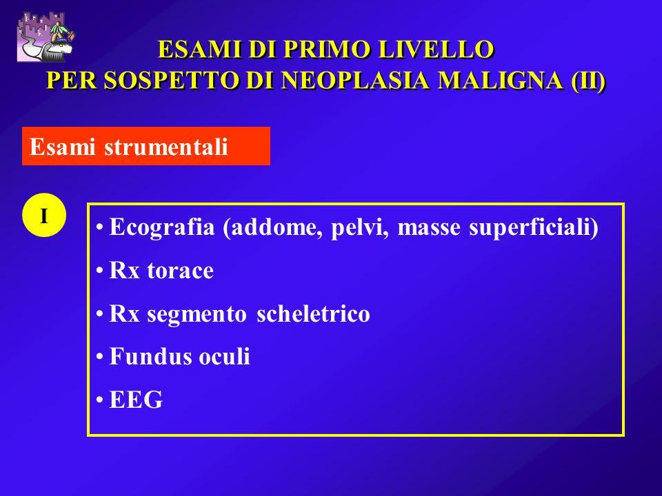 ESAMI DI PRIMO LIVELLO PER SOSPETTO DI NEOPLASIA MALIGNA (II)