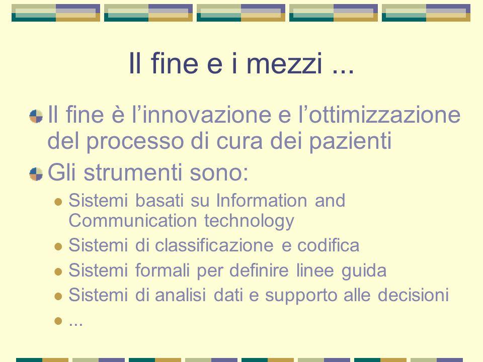 Il fine e i mezzi ... Il fine è l'innovazione e l'ottimizzazione del processo di cura dei pazienti.