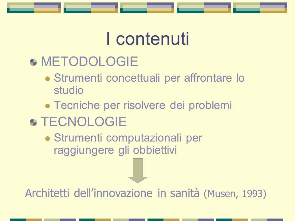 I contenuti METODOLOGIE TECNOLOGIE