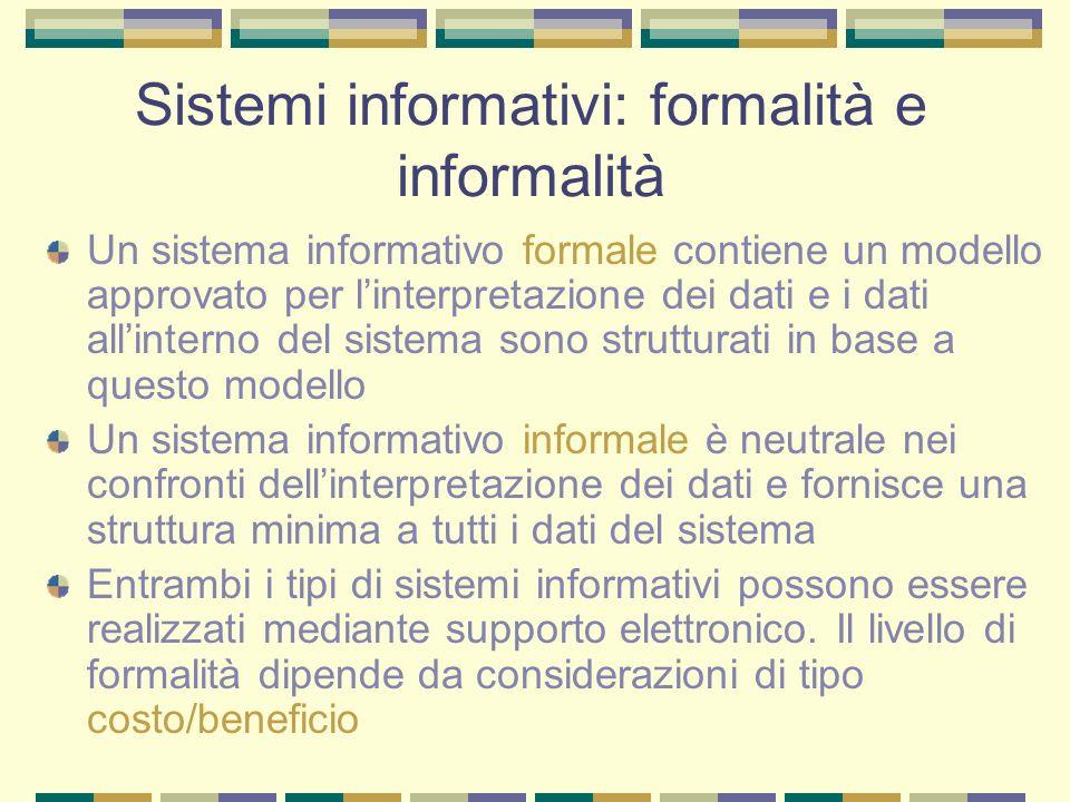 Sistemi informativi: formalità e informalità