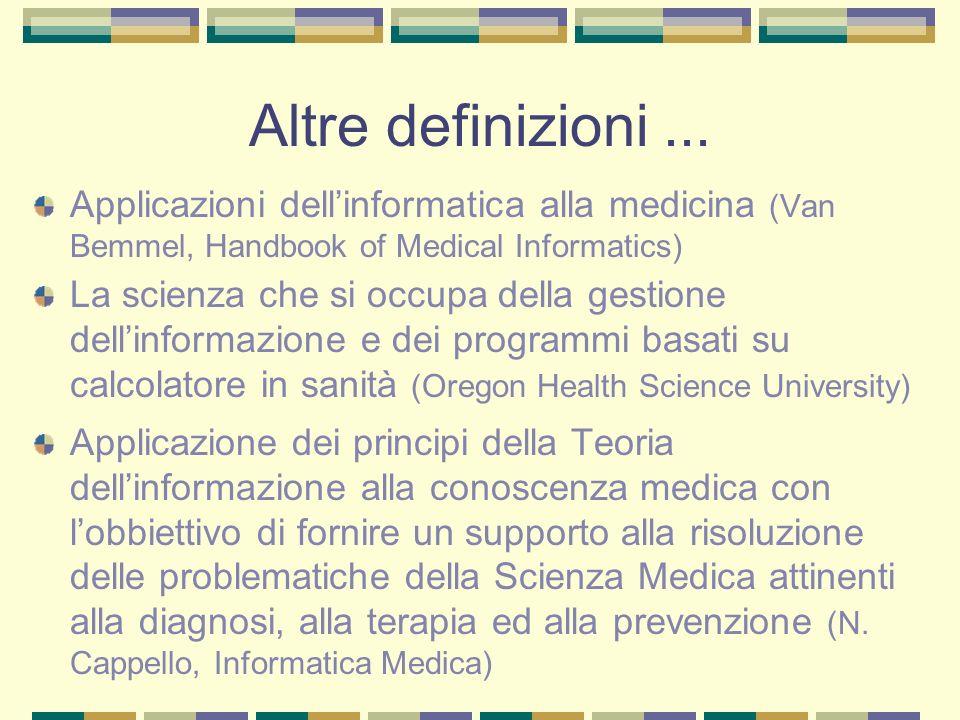 Altre definizioni ... Applicazioni dell'informatica alla medicina (Van Bemmel, Handbook of Medical Informatics)