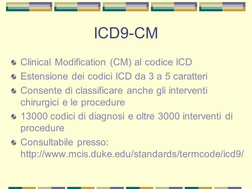 ICD9-CM Clinical Modification (CM) al codice ICD