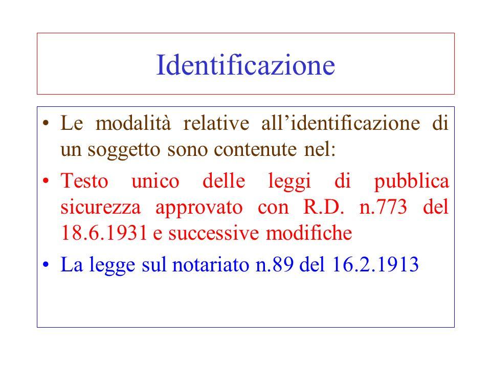 Identificazione Le modalità relative all'identificazione di un soggetto sono contenute nel: