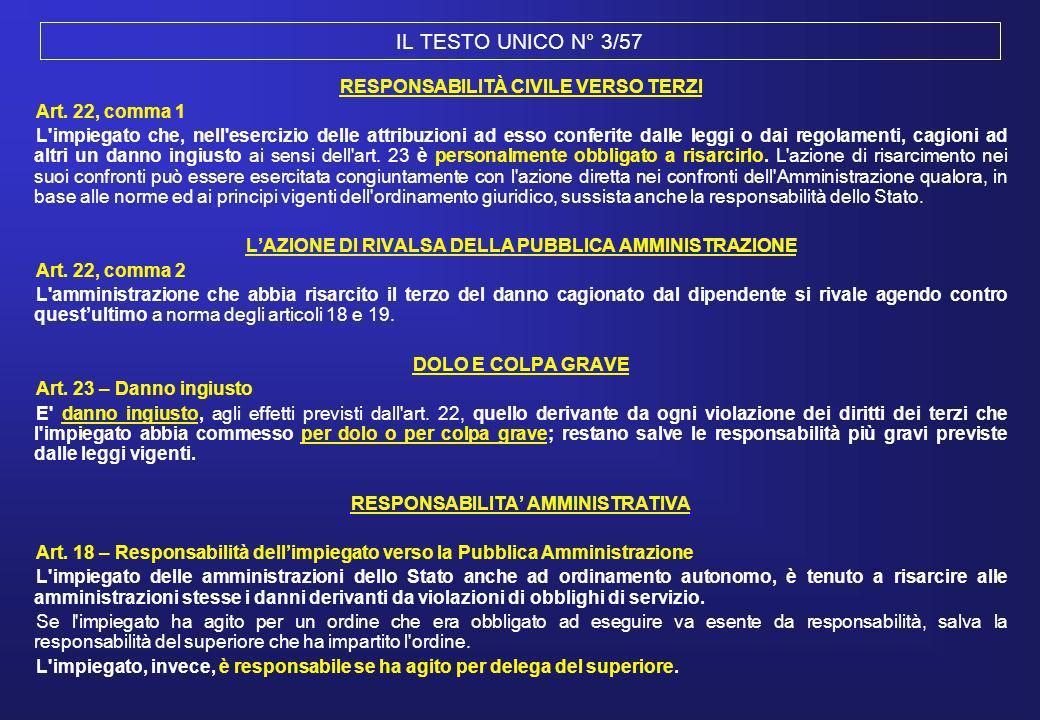 IL TESTO UNICO N° 3/57 RESPONSABILITÀ CIVILE VERSO TERZI