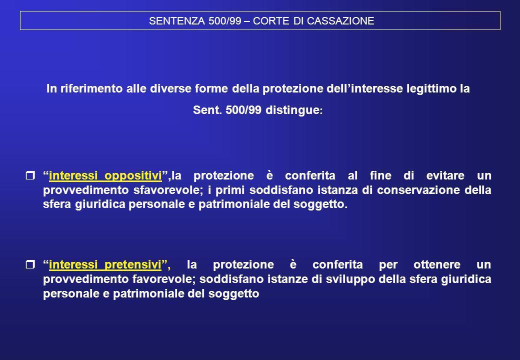 SENTENZA 500/99 – CORTE DI CASSAZIONE