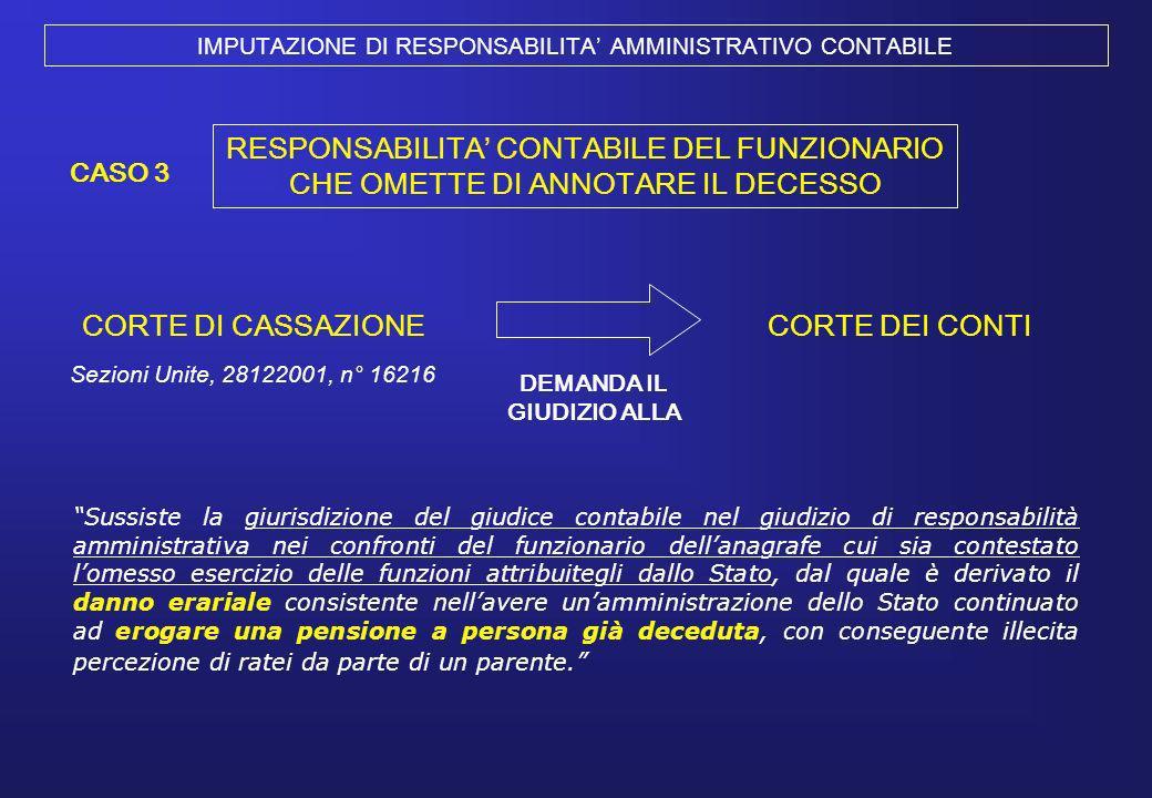IMPUTAZIONE DI RESPONSABILITA' AMMINISTRATIVO CONTABILE