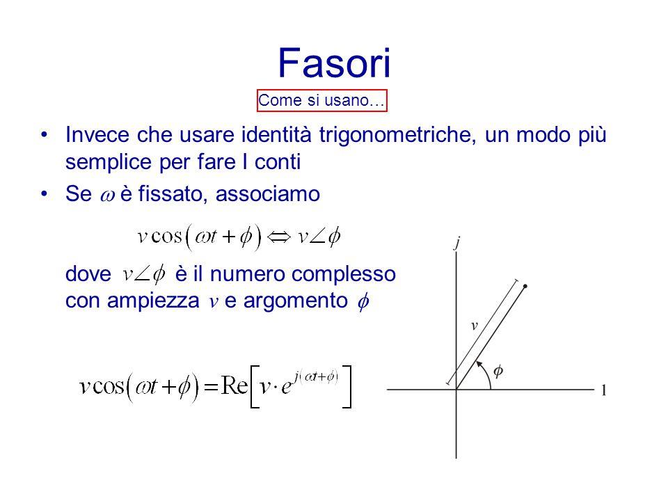 Fasori Come si usano… Invece che usare identità trigonometriche, un modo più semplice per fare I conti.