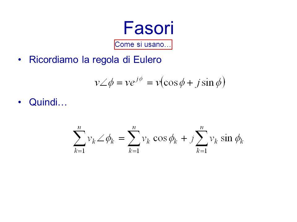 Fasori Ricordiamo la regola di Eulero Quindi… Come si usano…