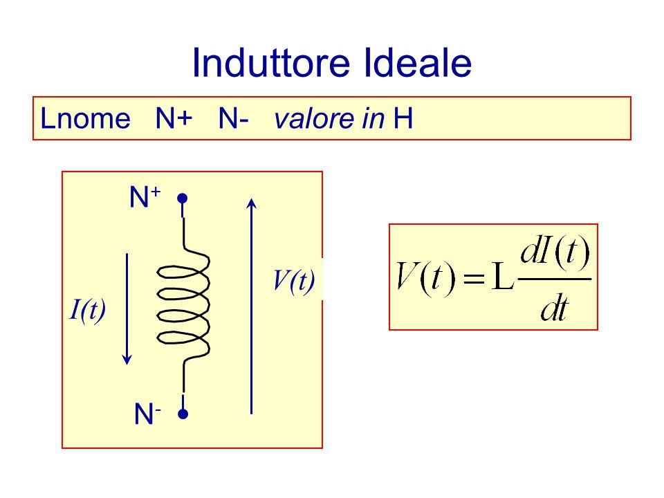 Induttore Ideale Lnome N+ N- valore in H N+ N- I(t) V(t) N+ V(t) I(t)