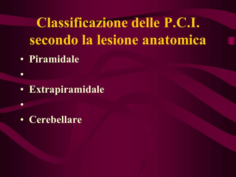 Classificazione delle P.C.I. secondo la lesione anatomica