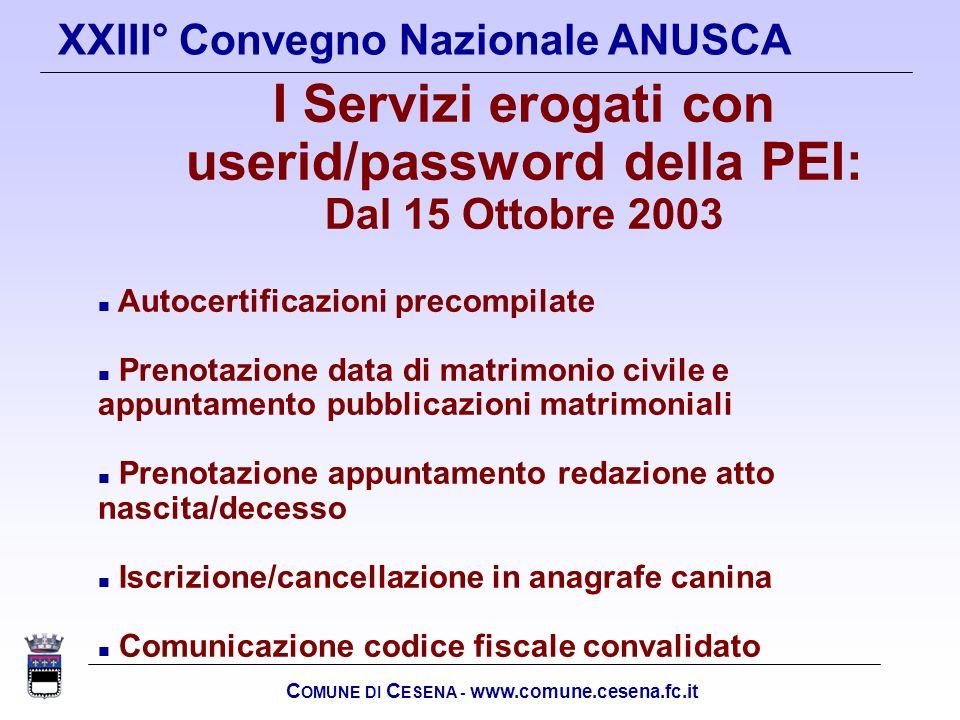 I Servizi erogati con userid/password della PEI: