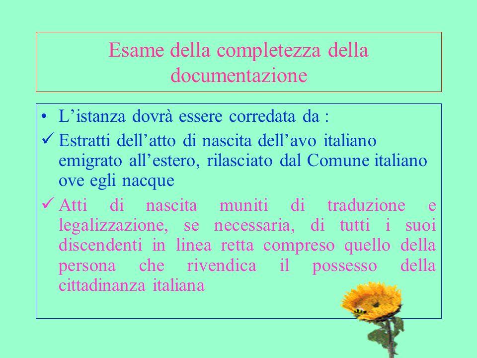 Esame della completezza della documentazione