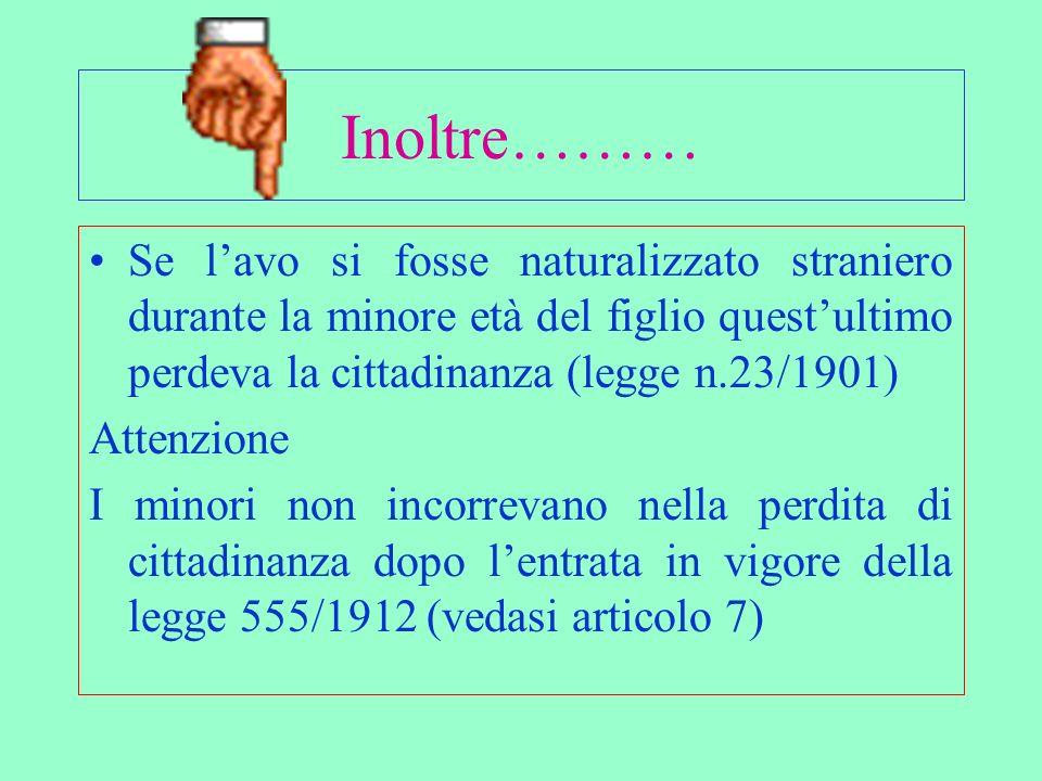 Inoltre……… Se l'avo si fosse naturalizzato straniero durante la minore età del figlio quest'ultimo perdeva la cittadinanza (legge n.23/1901)