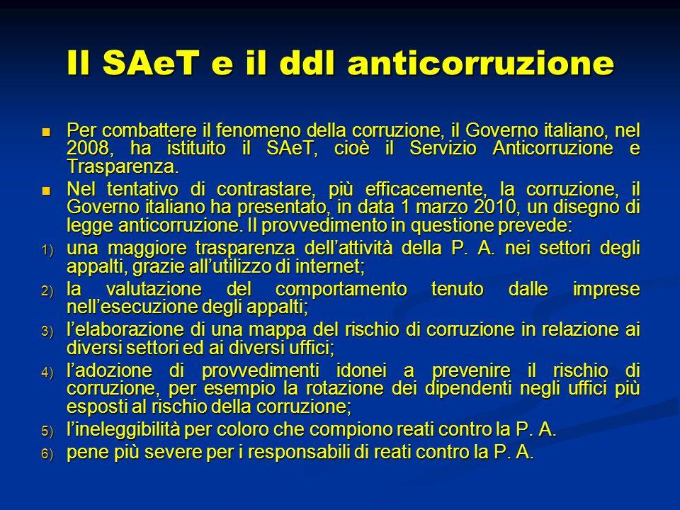 Il SAeT e il ddl anticorruzione